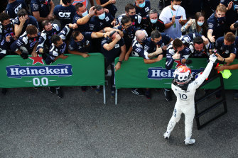 Pierre Gasly celebrates after winning the Italian Grand Prix at Monza on Sunday.