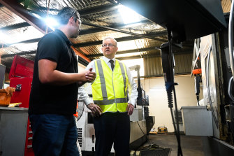 Opposition Leader Anthony Albanese visits Malaga fabricators Adarsh Australia with the company's director Faz Pollard on Tuesday.