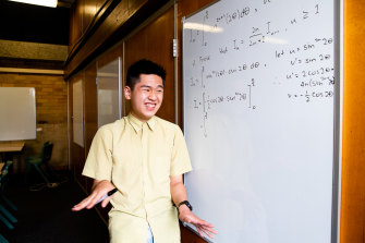 Baulkham Hills High School's Caleb Hsiung achieved a 99.95 ATAR with his high maths marks. The school shot up to place equal second in HSC maths rankings this year.