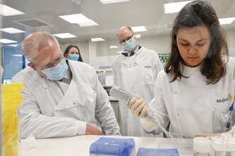 Prime Minister Scott Morrison tours AstraZeneca laboratories in Sydney last month.