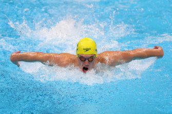 Brendon Smith stretches out during the 400m individual medley final at the Tokyo Aquatics Centre.