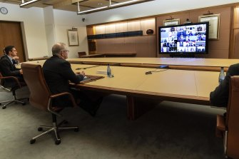Scott Morrison takes part in the unusual G20 summit via video call.