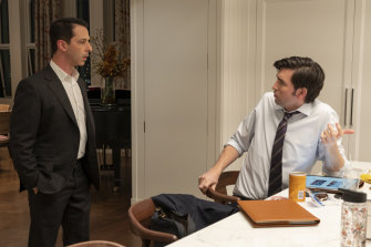 Nicholas Braun as Greg and Jeremy Strong as Kendall in season three of Succession.