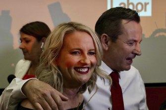WA Premier Mark McGowan celebrates his crushing re-election with wife Sarah.