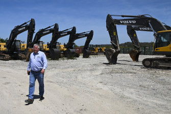 Centre Alliance senator Rex Patrick is seen near Chinese heavy machinery for Covec-CRFG (joint venture between China Overseas Engineering Group Co. and China Railway First Group Co.) parked at a workers' camp near the town of Zumalae, East Timor.