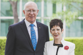 Appointed Governor-General, former general and defence force chief David Hurley with his wife Linda.