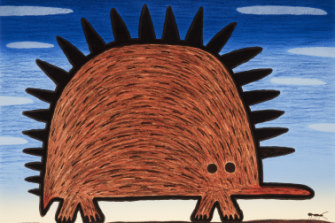 Dean Bowen, <i>Echidna with Ant</i>, 2017, in<i>New paintings, prints and sculptures</i> (detail) at Beaver Galleries.