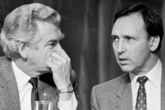 Bob Hawke and Paul Keating at the ALP Conference in 1988.