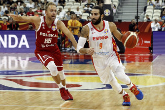 Ricky Rubio in action for Spain in their win over Poland.