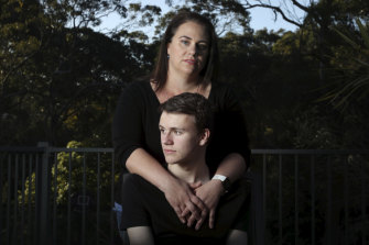 Danielle Berselli and her son Luca who has ADHD. When he was in primary schools, teachers suggested an autism diagnosis would help him obtain funding.