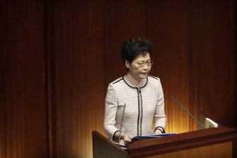 In chaotic scenes earlier this week, furious pro-democracy lawmakers forced Carrie Lam to stop a policy speech and deliver it later outside the chamber.