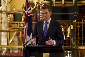 Christian Porter releases of a draft of the Religious Discrimination Bill at the Great Synagogue in Sydney.