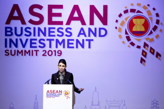 Prime Minister Jacinda Ardern delivers a speech in the ASEAN Business and Investment Summit (ABIS) Thailand on Sunday.