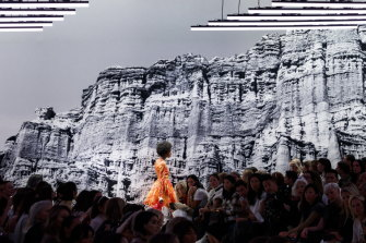 The collection was shown in New York against a backdrop of cliffs and the ocean.