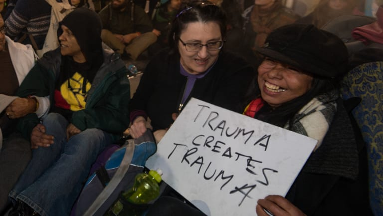 Tanya Day (far right) at the Melbourne protest against Don Dale youth detention centre.