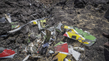 Wreckage lies at the site where an Ethiopian Airlines flight crashed shortly after take-off from Ethiopia's capital, Addis Ababa, killing all 157 on board.