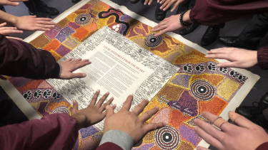Campbelltown school children with the Uluru Statement, 2018.