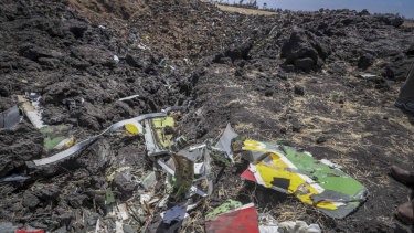 Wreckage lies at the site of the weekend's Ethiopian Airlines crash.