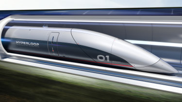 "Commuters would travel in capsules as part of the ""ultra high-speed"" hyperloop system proposed for Australia."