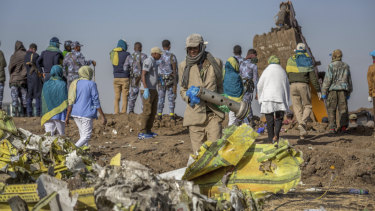 The wreckage of the Ethiopian Airlines crash.