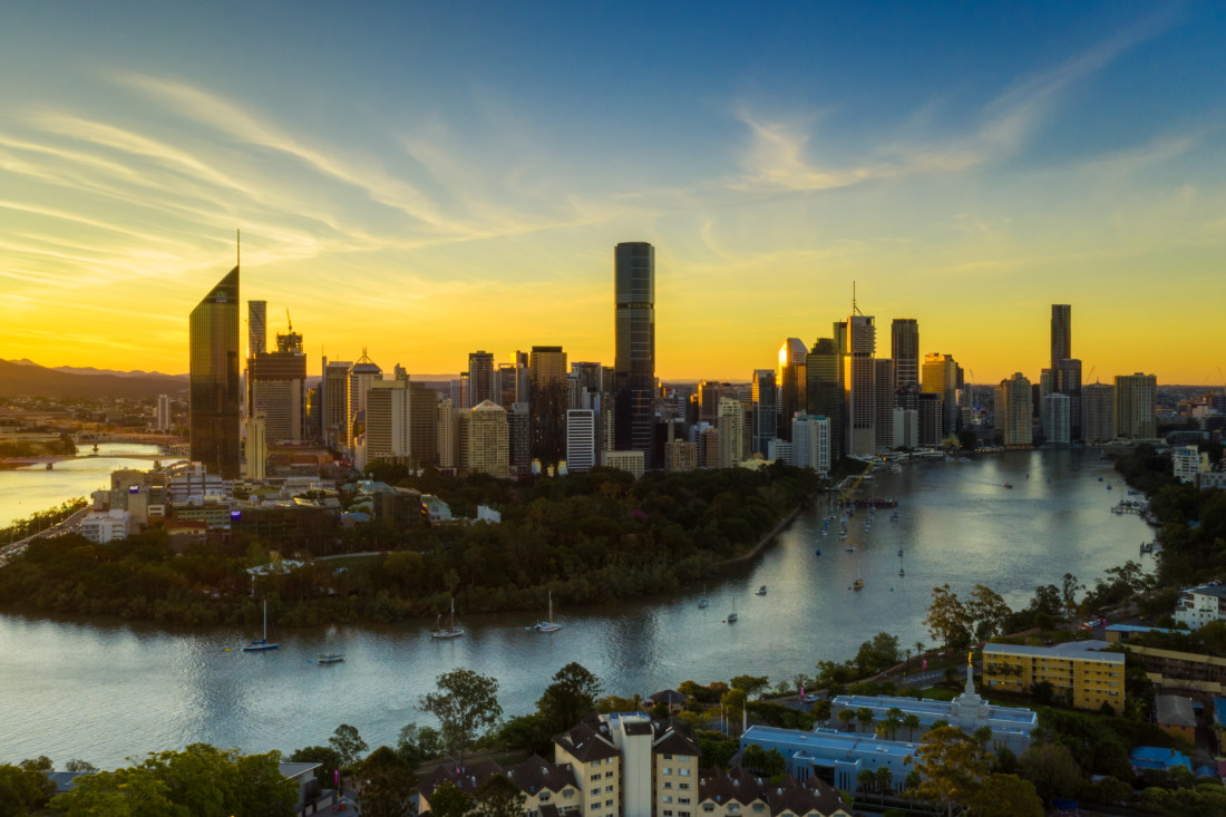 Brisbane city from Kangaroo point cliffs as the sun sets.