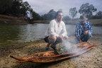 Art Gallery of NSW Indigenous educator Wesley Shaw with Barkandji artist Badger Bates at the launch of Barkandji canoe