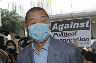 Jimmy Lai arrives at a court in Hong Kong in September.