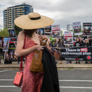 Protesters outside the Caulfield Racecourse