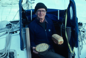 Round-the-world sailor Professor Marvin Creamer with supplies.