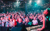 Astrid Jorgensen, right, with a full house of Pub Choir devotees at the Corner Hotel,  Richmond, October 2018.