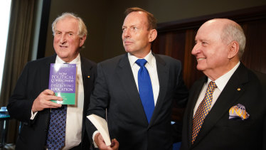 Kevin Donnelly, former prime minister Tony Abbott and radio broadcaster Alan Jones on Tuesday.