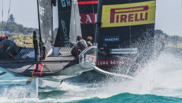 INEOS TEAM UK on the water with Luna Rossa during official practice racing ahead of the PRADA Cup.