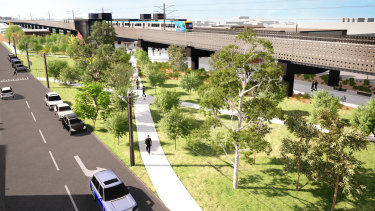 An artist's impression of the Coburg and Brunswick skyrail.