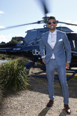 Tim Robards arrives solo at the Melbourne Cup.