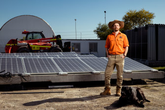 Chris McGrath, 5B co-founder and chief executive, stands in front of one of his firm's hinged, solar arrays at a site at Kurnell on Sydney's south.