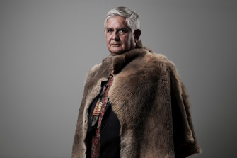 Ken Wyatt, the Minister for Indigenous Australians, wearing a booka made from kangaroo skin given to him by Noongar elders from Western Australia.