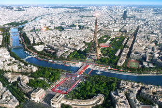 The Pont d'lena Olympics site in the heart of Paris.