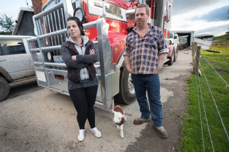 Brenton and Kat Gration are facing a wait of up to six weeks for power on their Mirboo East property.