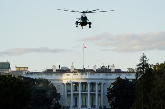 Marine One lifts off from the White House carrying US President Donald Trump to Walter Reed National Military Medical Centre.