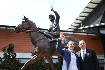 Hugh Bowman and Chris Waller at the unveiling of the Winx statue at Rosehill.