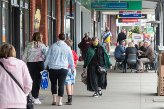 People onthe main street of Wonthaggi in regional Victoria on Friday.