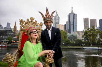 Julia Morris and Nazeem Hussain are crowned Moomba queen and king.