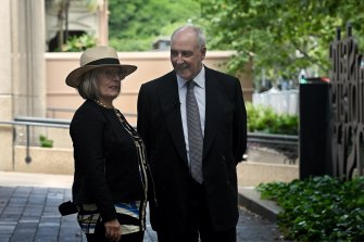 Former Prime Minister Paul Keating and former Sydney lord mayor Lucy Turnbull near the NSW State Library on Macquarie Street.