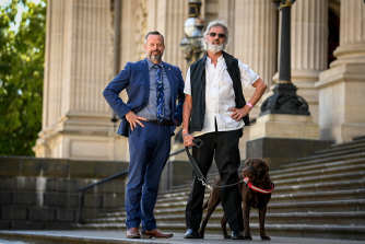 Victorian Justice Party leader Stuart Grimley with Ron Fenton and Yogi last week.