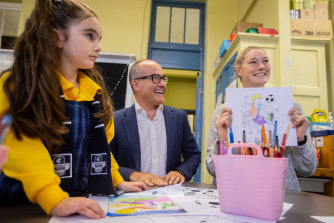 Education Minister James Merlino was speaking during a visit to Fitzroy Primary School on Monday with AFLW star Tayla Harris to announce an active schools program.