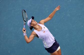 Ashleigh Barty serves in her third-round match against Ekaterina Alexandrova.