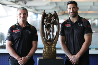 Panthers coach Ivan Cleary and captain James Tamou with the premiership trophy.