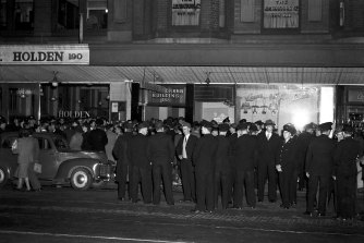 Communists and police clash at a demonstration outside the Ironworker Building in Sydney in 1950.