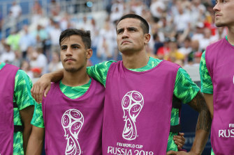 Daniel Arzani with Socceroos legend Tim Cahill at the 2018 World Cup.