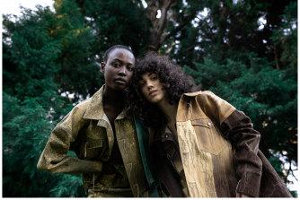 Models Sahara Deng, left, and Ciena Giovannina wear designs by RMIT graduate Shrinvanti Roy.